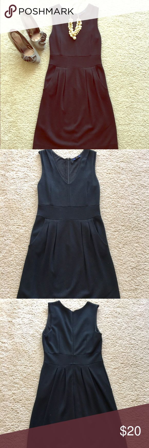 """Little black dress V-neck black mini dress. Thicker, form fitting material with some stretch (74% Rayon, 22% Nylon, 4% Spandex). Very flattering. Has pockets! Perfect for the office. Worn a handful of times. My office is pretty casual so I just don't have the opportunity to wear this dress anymore. I am 5'4"""" and it hits just above my knee. EUC! GAP Dresses Mini"""