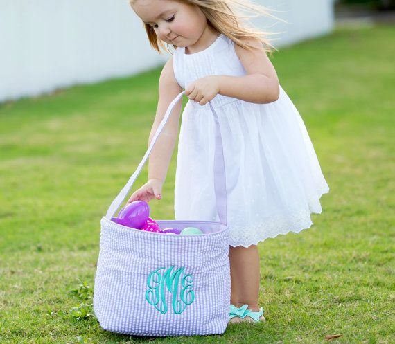 SHIPS NEXT DAY--Personalized Monogrammed Easter Basket Bucket Purple Seersucker --Free Monogramming--