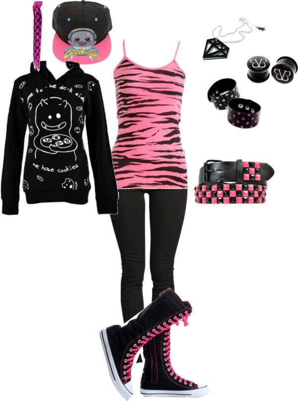 """scene style"" by foreverbroken ❤ liked on Polyvore. I want the tank, belt, pants, bracelets, and necklace"