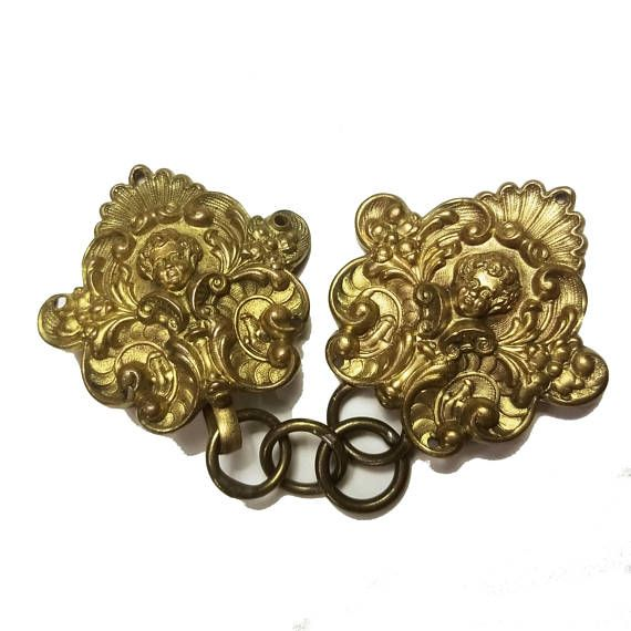 Gold Metal Cape Clasps Cloak Buckles Fastenings clips medieval Victorian 18th C