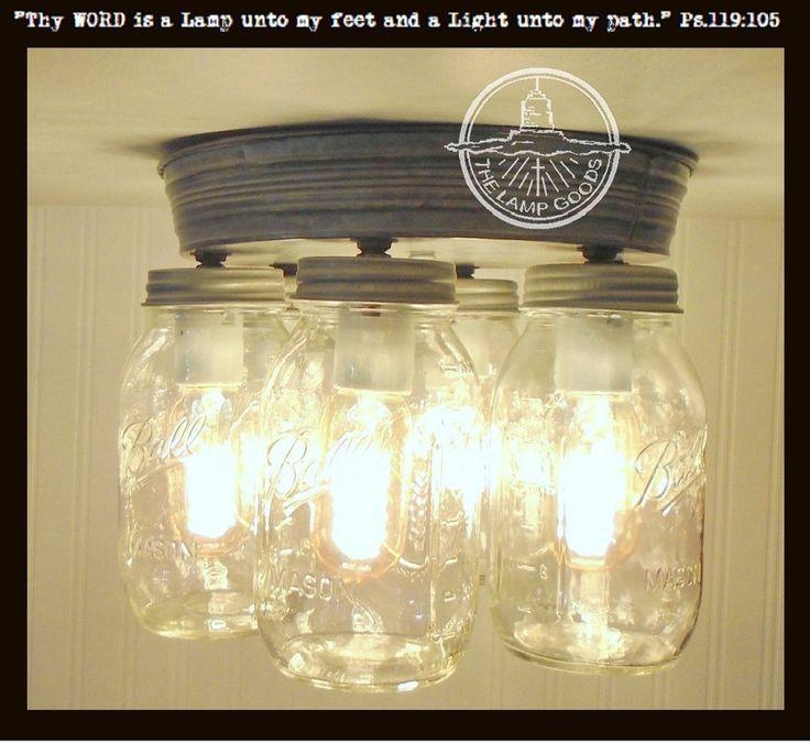 Mason Jar Flush Mount Light Part - 19: Galvanized Mason Jar Ceiling Light 6-Light