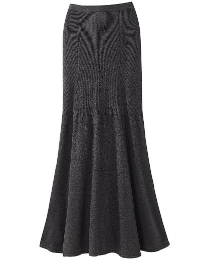 Signature Silk Cashmere Knit: Long Flared Skirt