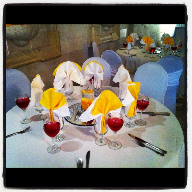 Pretty in yellow with accents of red, Cranberry cocktails to set off the tone for each guest