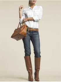 Classic, Soft leather with blue jeans; brown boots!  Perfect fall outfit!! :) #leather, #jeans, #women's apparel: Skinny Jeans, Weekend Wear, White Shirts, Fall Looks, Fall Outfits, White Buttons Down, Brown Boots, My Style, Dresses Codes