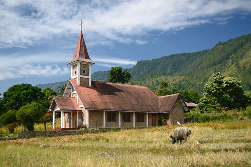 Church in Samosir Island, Lake Toba, North Sumatra, Indonesia.  (by jsphang)