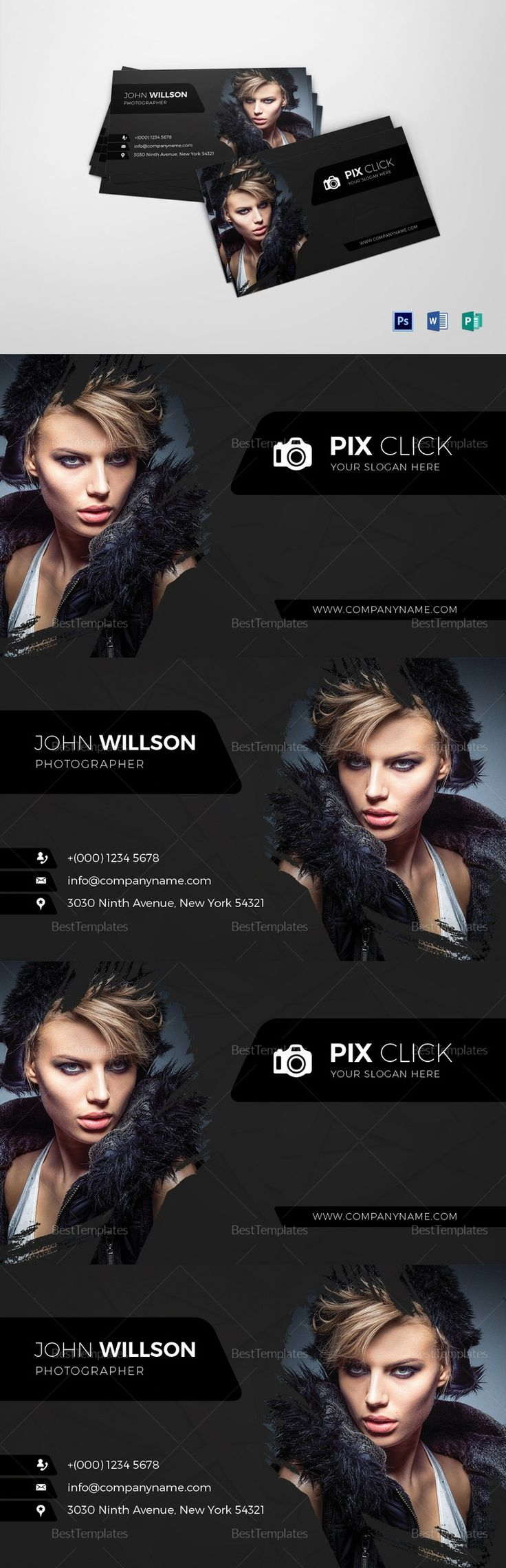 Fashion Photographer Business Card Template - $9...  Formats Included : MS Word, Photoshop, Publisher... File Size : 3.75x2.25 Inchs