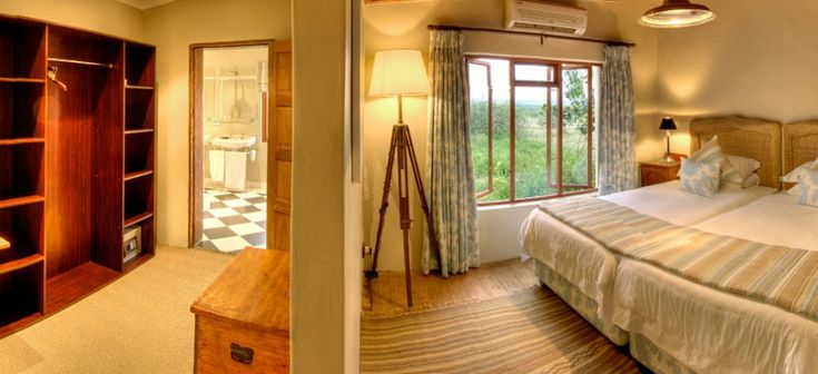Walk in closet and one of the bedrooms at the exclusive Long Hope Villa. River Bend Lodge, Addo Elephant National Park. South Africa.