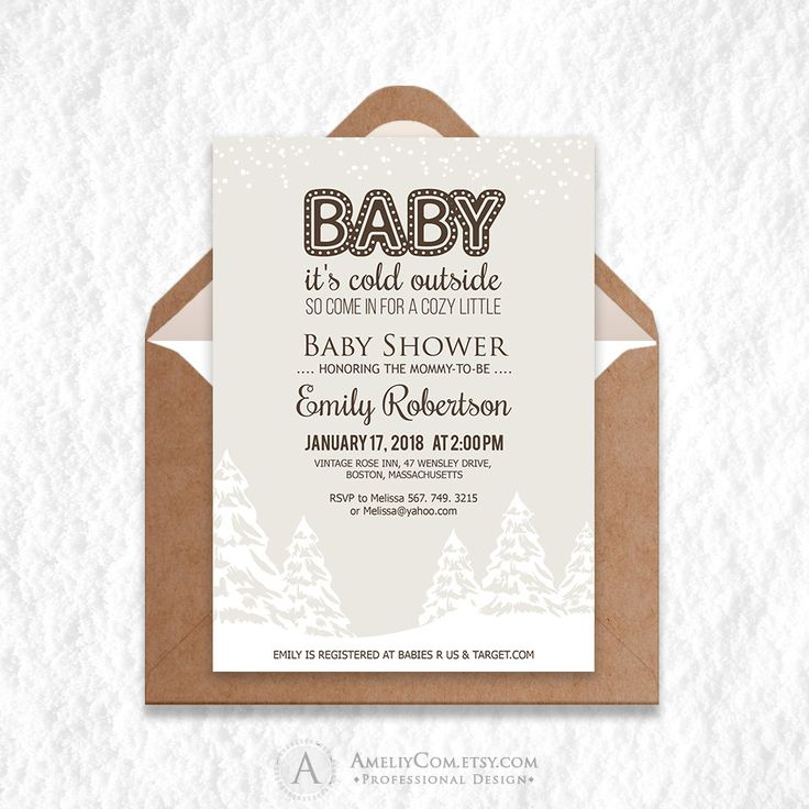 Wonderland Rustic Winter Baby Shower Invitation Printable - Baby It's Cold Outside Neutral White Christmas Trees Baby Shower Invite DOWNLOAD