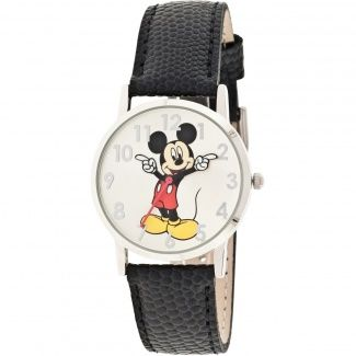 Disney Mickey Mouse Moulded-Hands Black Watch, Genuine Leather