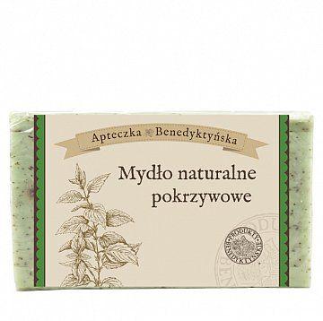 Mydło naturalne pokrzywowe 130g - Produkty Benedyktyńskie    Mydło pokrzywowe składa się naturalnych olejów roślinnych i ekstraktów ziołowych. Ma dobre właściwości przeciwzapalne i antyseptyczne. Dobre jest dla cery mieszan...