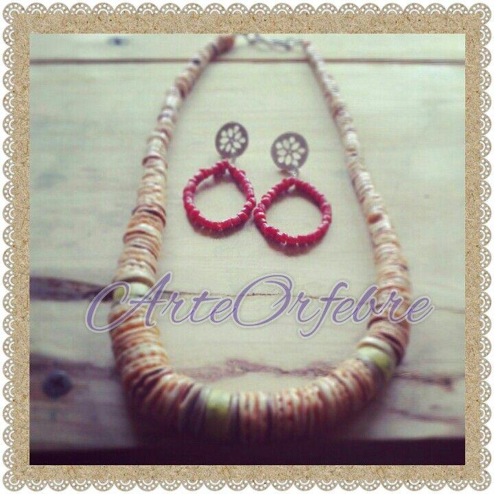 Collar Spondyllus & aros plata coral rojo  ArteOrfebre