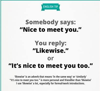 Greetings when meeting for the first time.