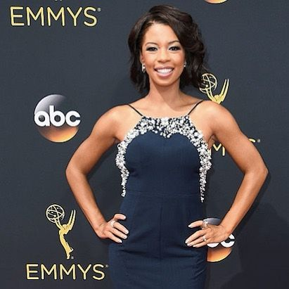 "Angel Parker from ""The People v. OJ Simpson"" looking absolutely fabulous on the #emmy #redcarpet last night in #platinum CliQ jewelry. #beplatinum #lovefits #hitemwiththehein"