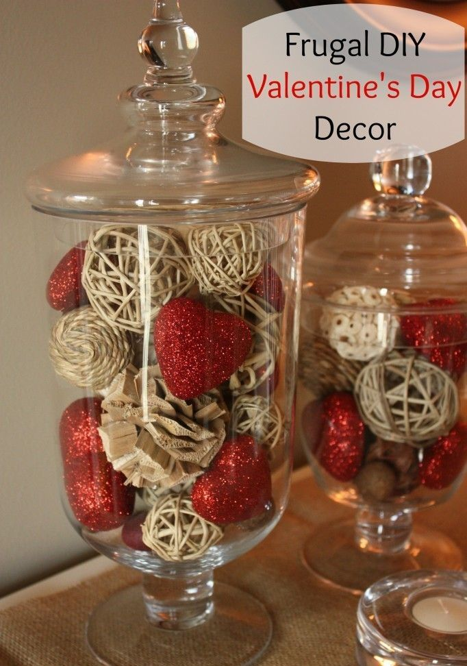 Cheap And Fast Make Diy Ideas Of Valentine Day 6 Frugal DIY Valentine's Day Decor.  wicker balls, balls of yarn, wooden seeds & pine cones & red glittery hearts put together in a footed, lidded glass jar.