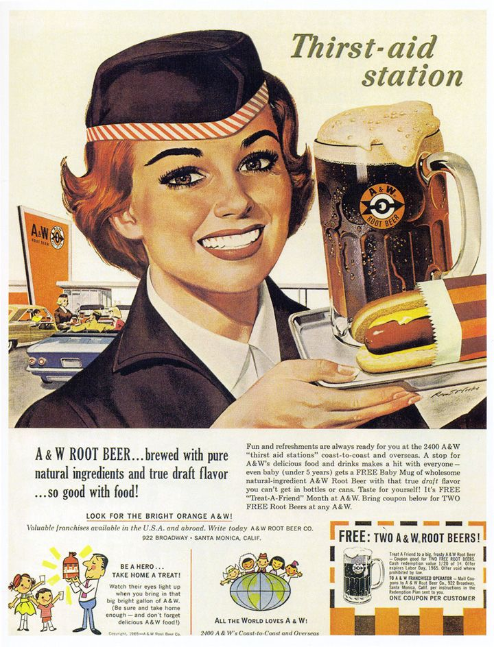 before fast food restaurants we went to the A & W Root Beer Stand. I remember I used to get the baby mug free, it was so cute....I also remember seeing a few mugs around my house that my brother brought home.....hot dogs were first choice, over hamburgers!