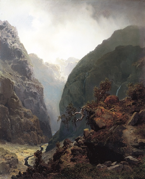 Hans Gude (1825-1903): Fjellandskap 1848