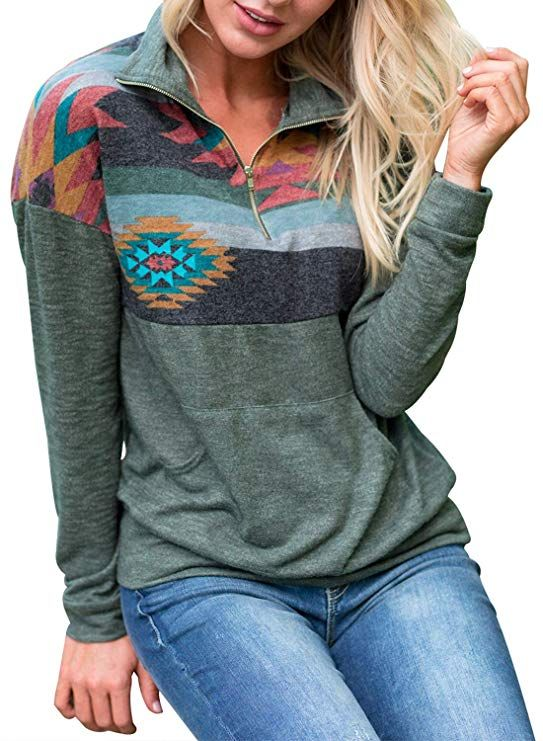 96a2f091bb8dd AlvaQ Women Fall Autumn Juniors Casual 1 4 Zipper Floral Printed Patchwork Pullover  Sweatshirts Tops Hoodies with Pockets Green Small