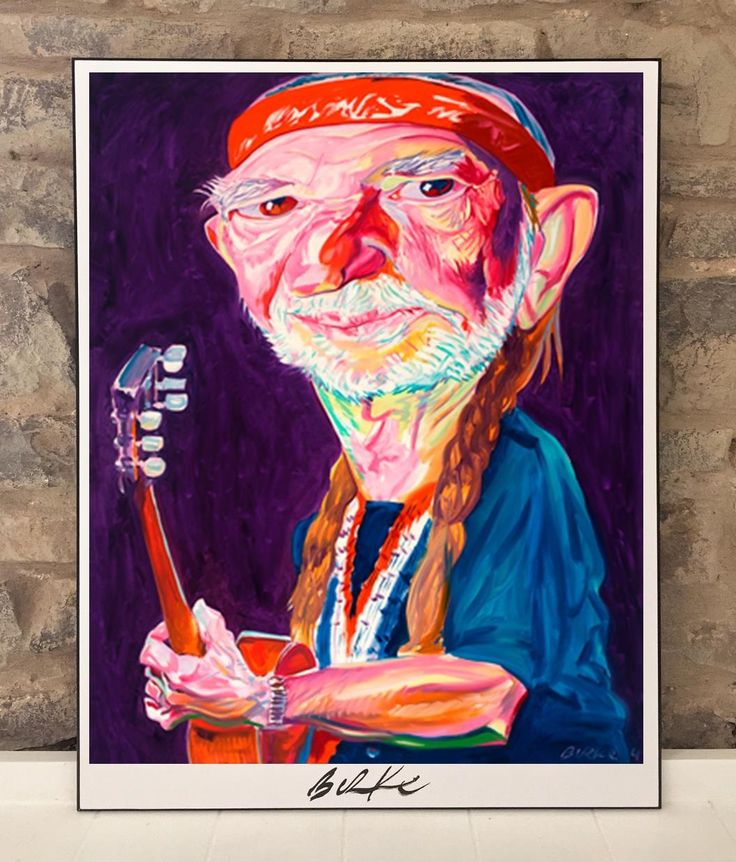 Willie Nelson by Philip Burke.  Painted in 2004 and exhibited at the Rock & Roll Hall of Fame.  Visit http://www.lbmason.com/product/male-singer-original-art-wall-poster-plaque-by-philip-burke-sku011259-p/ to shop original artwork, reproductions, posters, plaques, t-shirts, and other great merchandise featuring the artwork of Philip Burke!