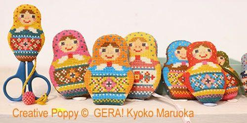 Gera! Kyoko Maruoka - Matryoshka, Trio d'accessoires de brodeuse (grille de broderie point de croix)