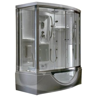 Steam Planet - Modern Steam & Shower Enclosure with Whirlpool Bathtub, Multi Body Message Water Jets, Radio & Aromatherapy - MK557R - Home Depot Canada #SteamShowerEnclosure