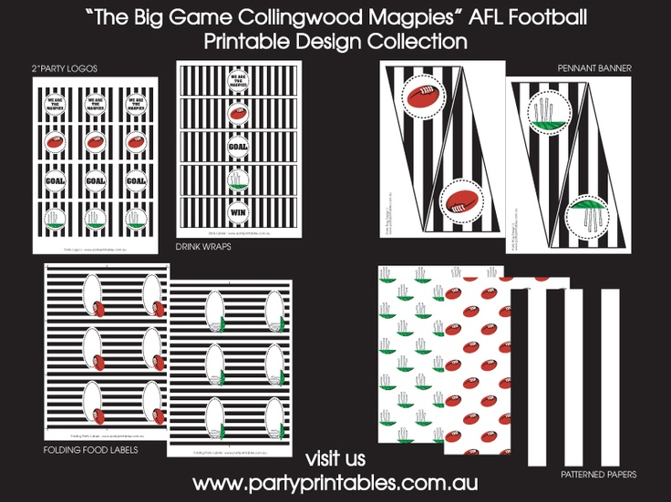 Collingwood Football Party Printable Collection