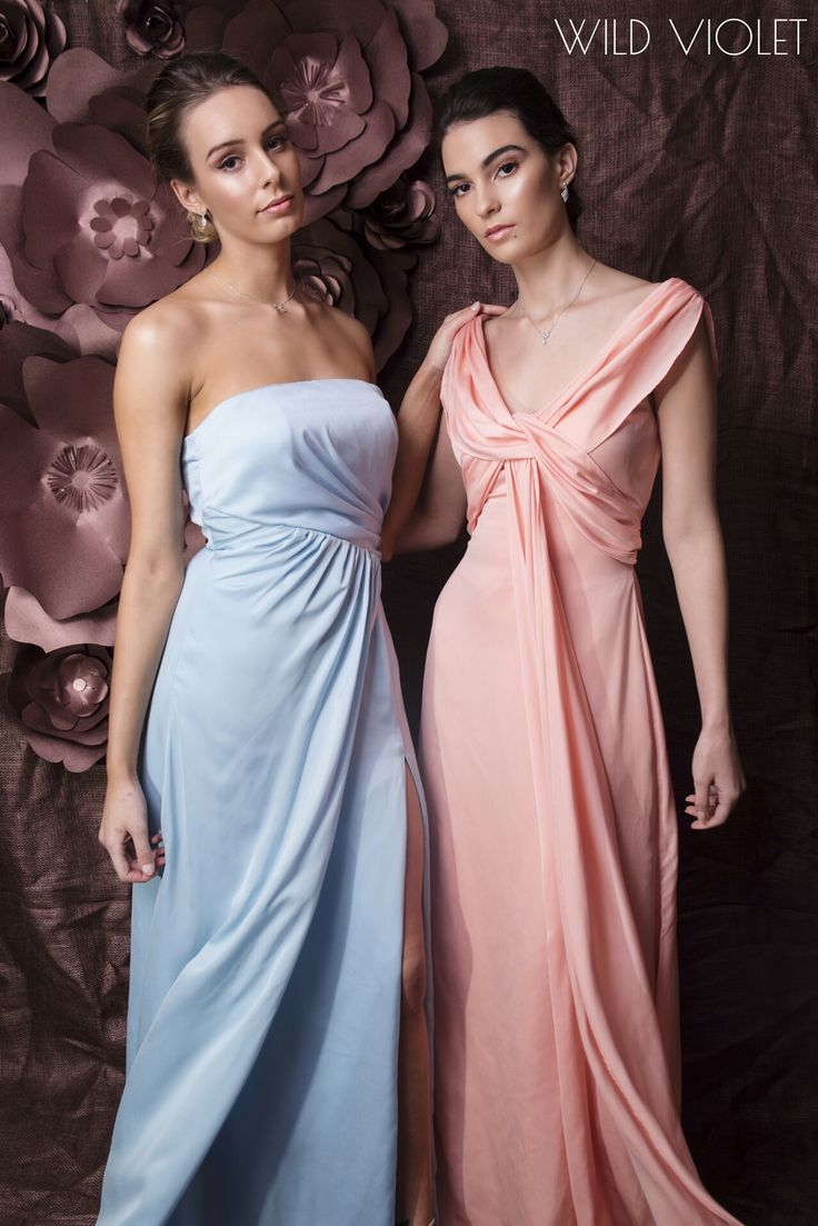 ETHEREAL //fresh and floaty bridesmaid dresses Barbara in pale blue and Emma in apricot...guaranteed to make your girls feel like goddesses// http://wildvioleteveningwear.com.au/