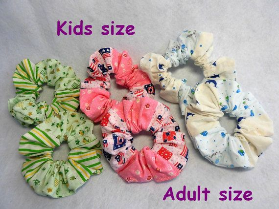Japanese hand KAWAII shushu / Colorful sewing Scrunchie / Adult size , Kids size / Pink , Green , Blue - #83 by YuminaCafe, ¥200