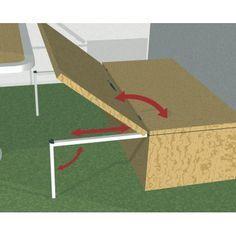 Système d'aménagement pour fourgon bateau et camping-car, ST.LA pied coulissant