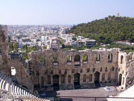 Heraion theater op de Akropolis in Athene. The Heraion theatre in the centre of Athens on the Acropolis.