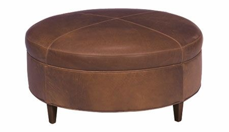 "Andover ""Designer Style"" Large Round Leather Ottoman $895"