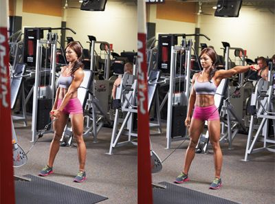 The single arm cable lateral raise is a great move to work out your front and rear deltoids.