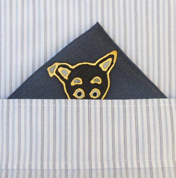 Image of pocket pet little black dog - silk pocket square