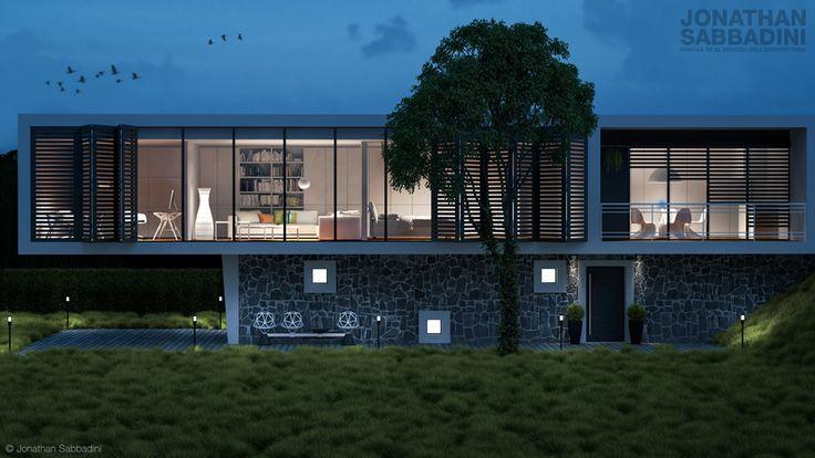 Le luci e la sera - 3D architectural visualisation  #light #mood #visualisation #architecture #evening #home #grass #3d #emotion #minimal #house #render #tree