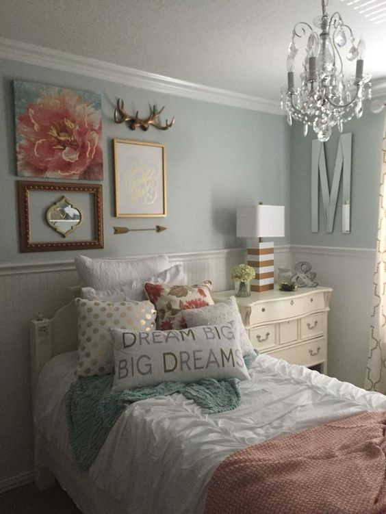 Awesome Girls Bedroom, Mint, Coral, Blush, White, Metallic Gold.