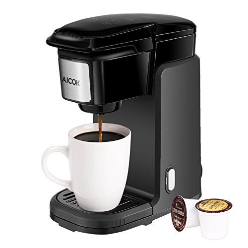 Aicok+Single+Serve+Coffee+Maker,+Compact+K-Cup+Coffee+Maker+with+Removable+Cover+Easy+to+Wash+for+Home+and+Travel