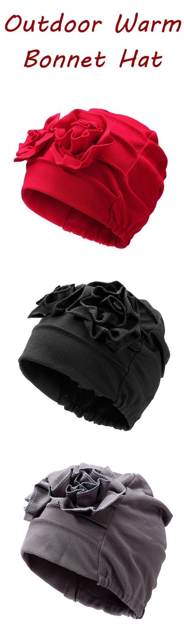 Women Side Plate Flower Cotton Beanies Cap Outdoor Warm Bonnet Hat