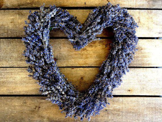 Dried Lavender Heart Wreath  Wedding Decoration  by SteliosArt