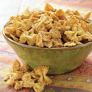 Crispy fried bow tie pasta. Serve this as your chip with spinach and artichoke dip. That could be delicious!