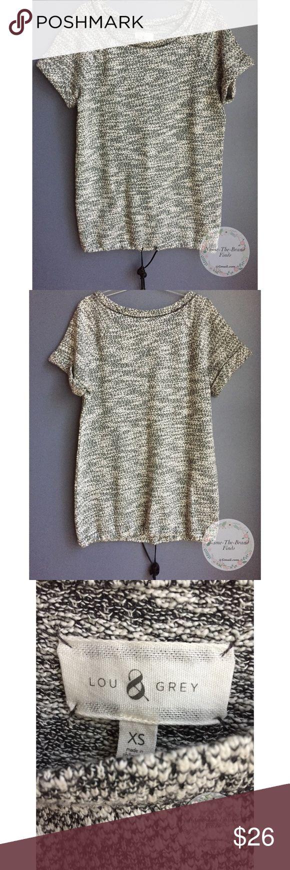 Lou & Grey Space grey Short Sleeve Top Lou & Grey Space grey Short Sleeve Top, size XS, Pull-string detail Lou & Grey Tops Blouses
