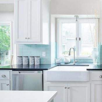 Tiffany Blue Subway Tile Backsplash, Transitional, Kitchen