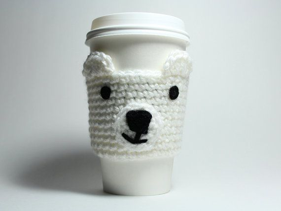 Polar bear coffee cozy, crochet cup sleeve, white animal cozy, Christmas In July Sale