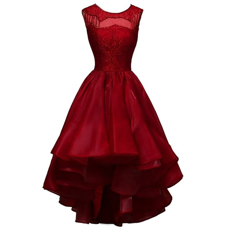 Classic Jewel Sleeveless High-Low Dark Red Homecoming Dresses Beaded with Lace