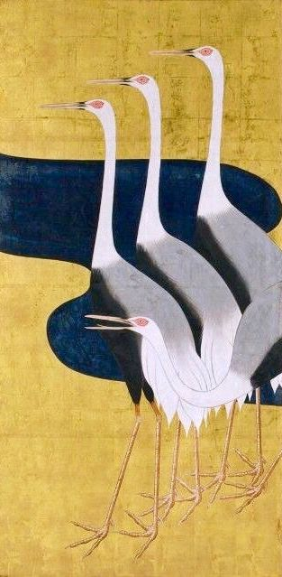 Detail. Sakai Hoitsu. Cranes. Two panel screen. Japan. Circa 1820. After portion of left screen of Cranes pair by Ogata Korin (image reversed). Worcester Art Museum.