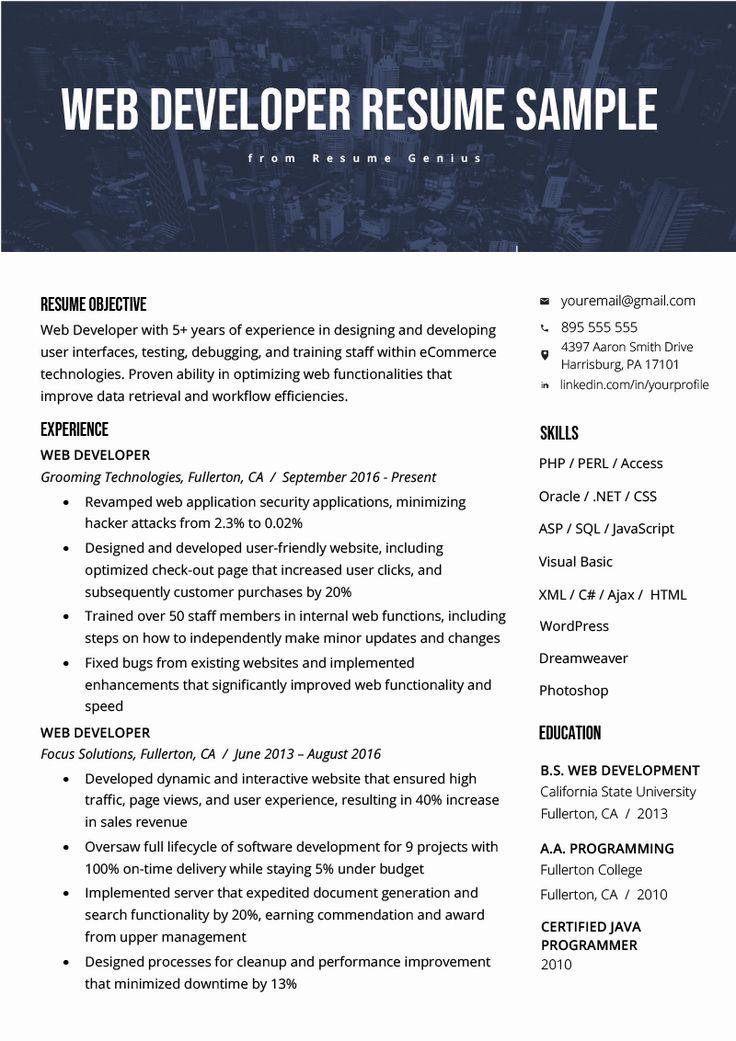 Junior web developer resume new web developer resume