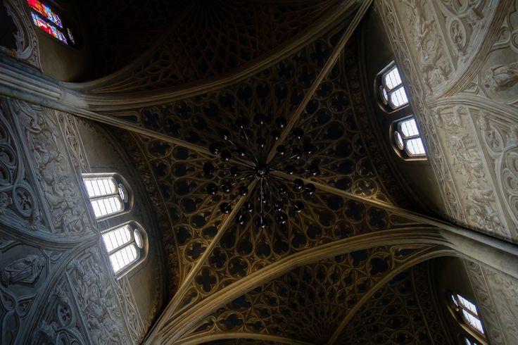 Chambéry Cattedrale   Una quantità impressionante di trompe-l'œil decorano le pareti la volta l'ovunque della cattedrale al centro di Chambéry.  Un gioco di luci inaspettato che la foto racconta piuttosto bene: volta buia pareti di luce soffusa.