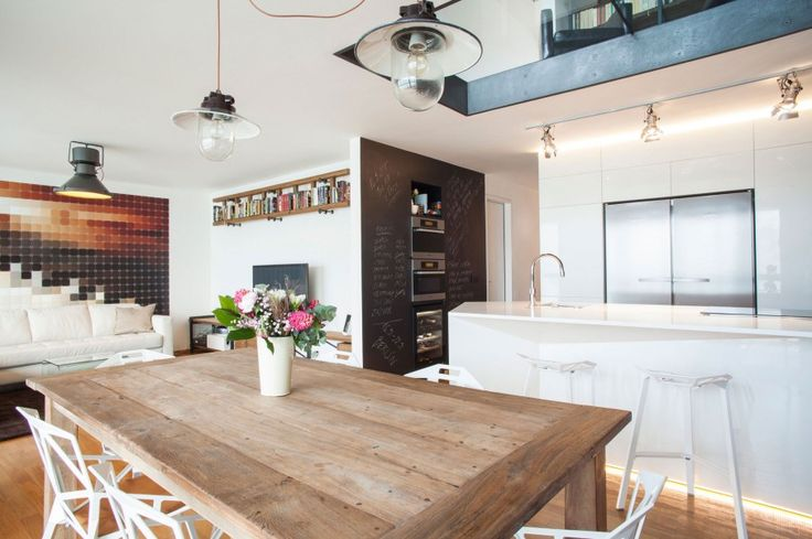 Modern House Design with a Little Old Touch: Astonishing Dining Room Design Of Cornlofts House With White Chairs Brown Wooden Table And Colo...