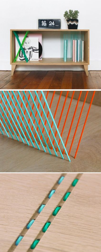 A book holding shelf using string threaded through the wood as a rack
