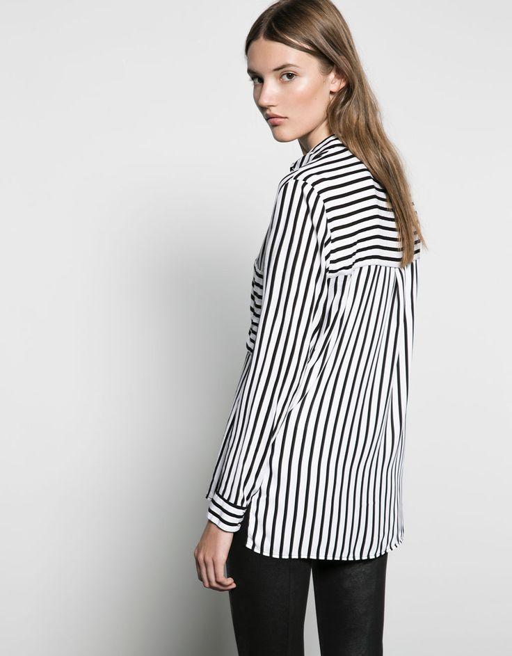 Camisa Bershka tejido contraste espalda - Camisas & Blusas - Bershka España