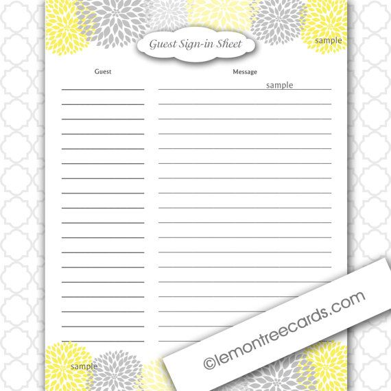 and grey dahlia baby or bridal shower guest sign in and baby a