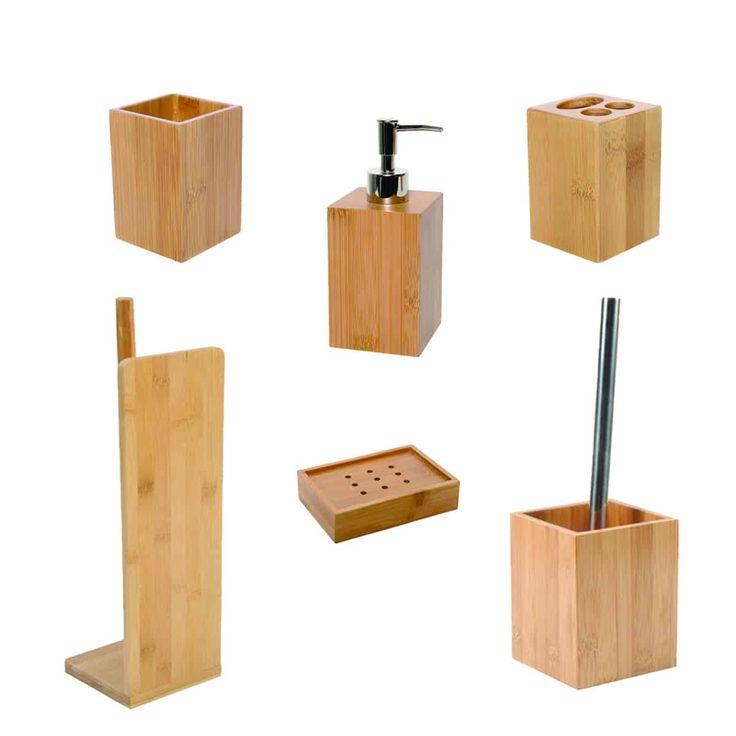 ecobio bamboo bath accessory set 6-pieces | bathroom accessories sets, bathroom accessories
